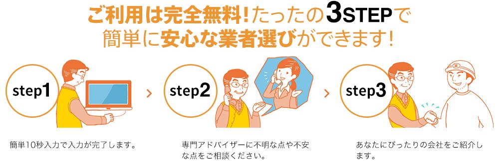 ご利用は完全無料!たったの3STEPで 簡単に安心な業者選びができます!
